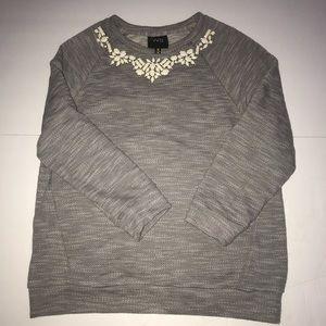 W5 Anthropologie detailed sweater size medium gray